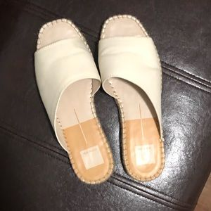 DOLCE VITA beige slip on sandals.